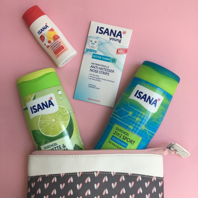 Things Helen Loves, Range of Isana shower gels in pretty washbag