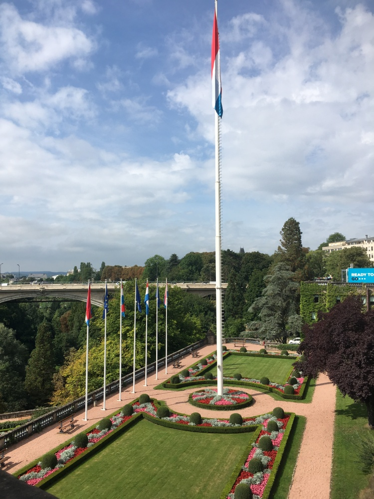 ThingsHelen Loves, Manicured garden with flags in Luxembourg City