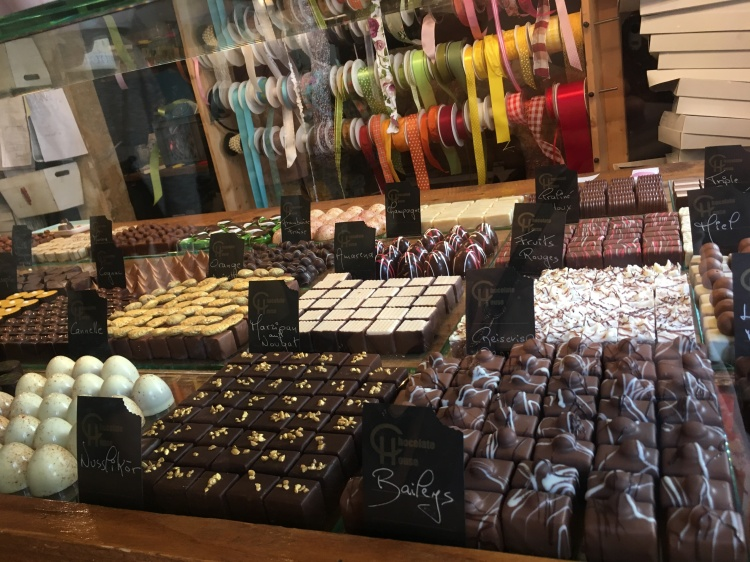 Things Helen Loves Display of chocolates and Ribbons at the Chocolate House cafe in Luxembourg