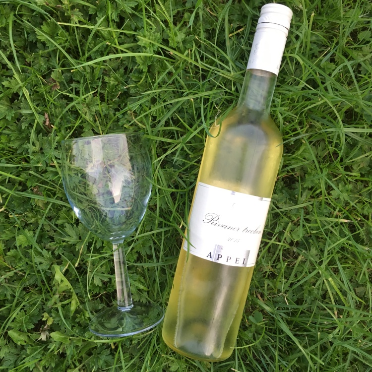 Things Helen Loves, bottle of wine and wineglass on grass