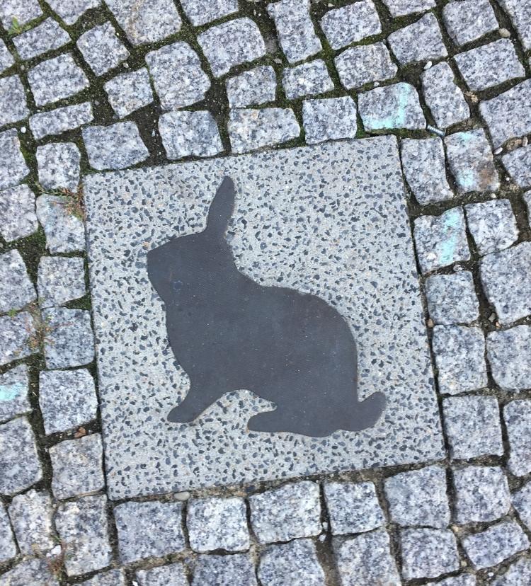 Things Helen Loves, image of rabbit silouhette set into paving stone