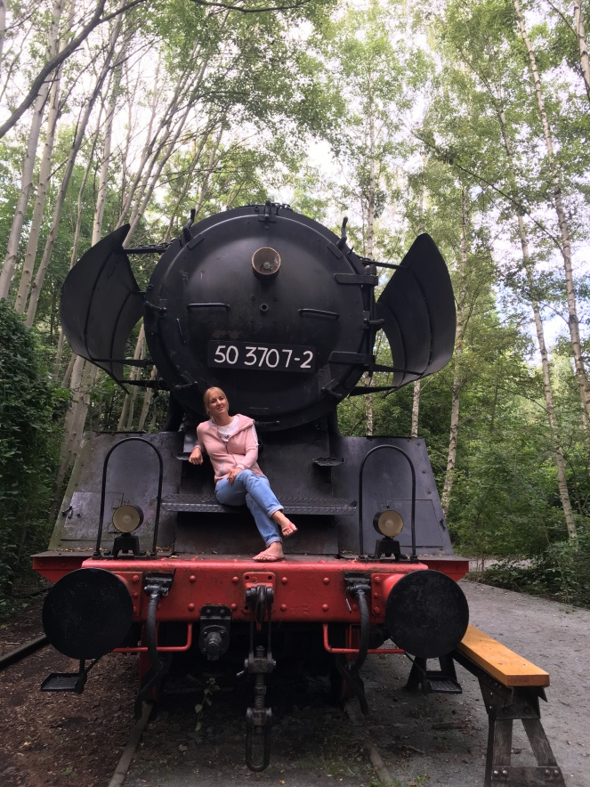 Things Helen Loves, Helen sitting on an old steam engine