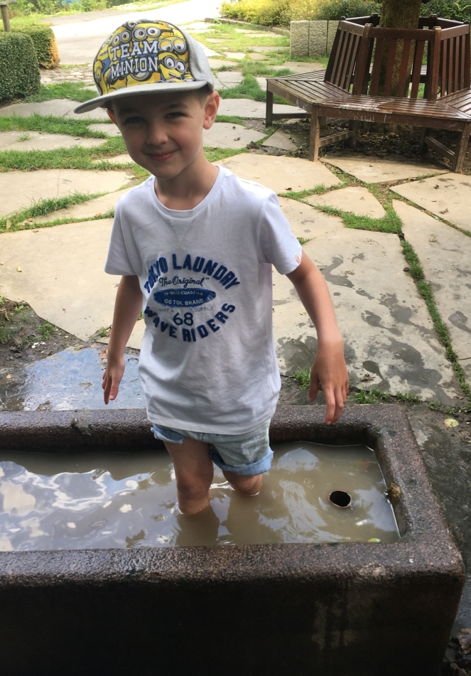 Things Helen Loves, image of young boy stood in old fashioned water trough.