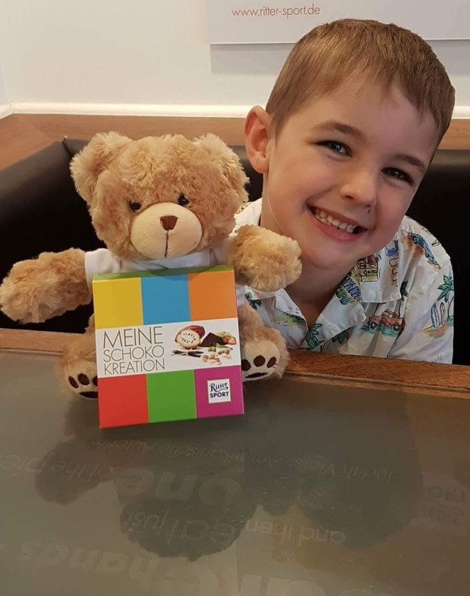 Things Helen Loves, Boy with chocolate bar in colourful box and teddy bear
