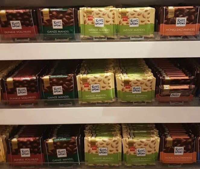 Things Helen Loves, Ritter chocolate bars on shelf
