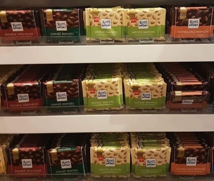 Things Helen Loves, Ritter chocolate bars on shelf
