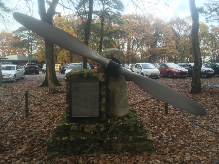 Things Helen Loves, Aircraft Propeller mounted on stone block in woodland setting