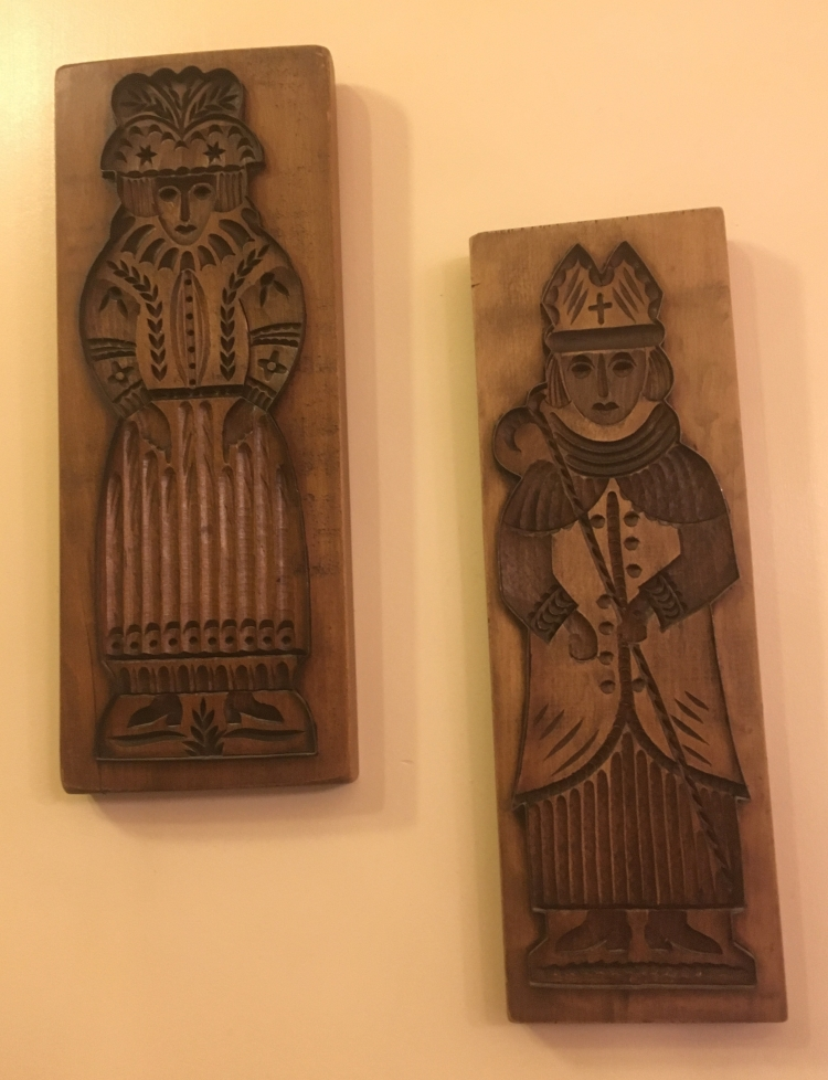 Things Helen Loves, Old wooden dough moulds, wall mounted.