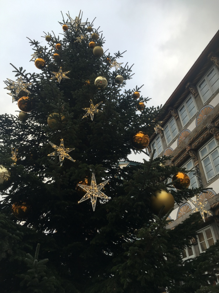 Things Helen Loves, image of a large Christmas tree against traditional German buildings.