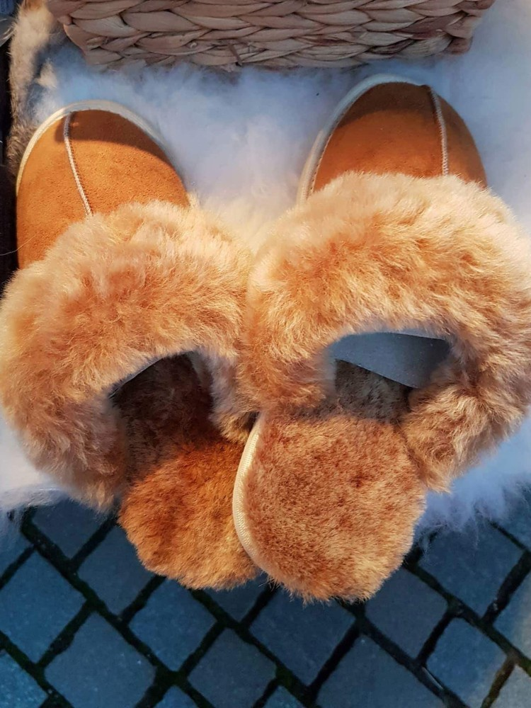 Things Helen Loves, sheepskin slippers for sale at a Christmas Market
