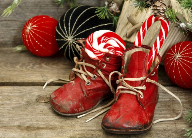 Things Helen Loves, small red boots with candy canes in them.