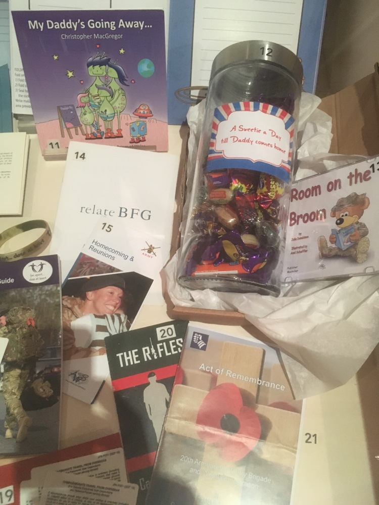 Things Helen Loves, display of books and leaflets aimed at Military families facing separation from their loved ones.
