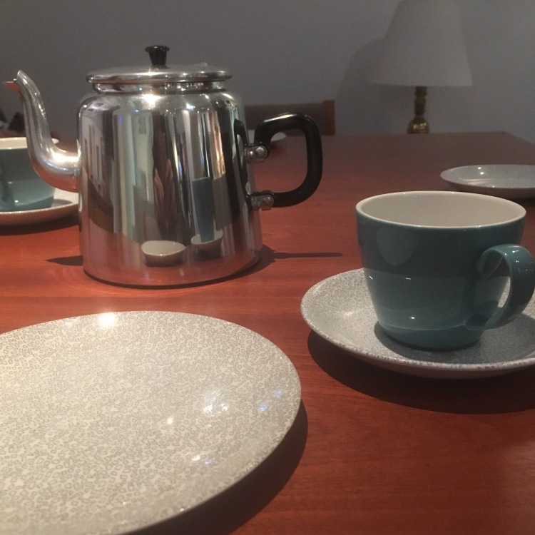 Things Helen Loves, image of brown table set with teapot and teacups.