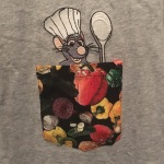Things Helen Loves, embroidered image of Rémy Rat on a tee shirt