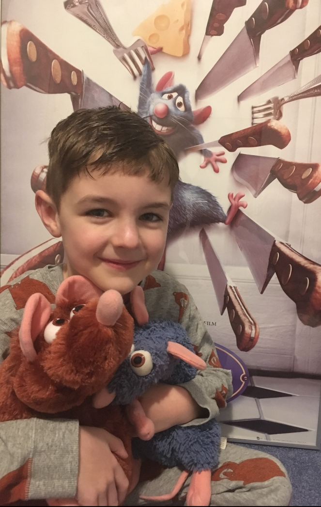 Things Helen Loves. image of boy with Ratatouille plush toys.