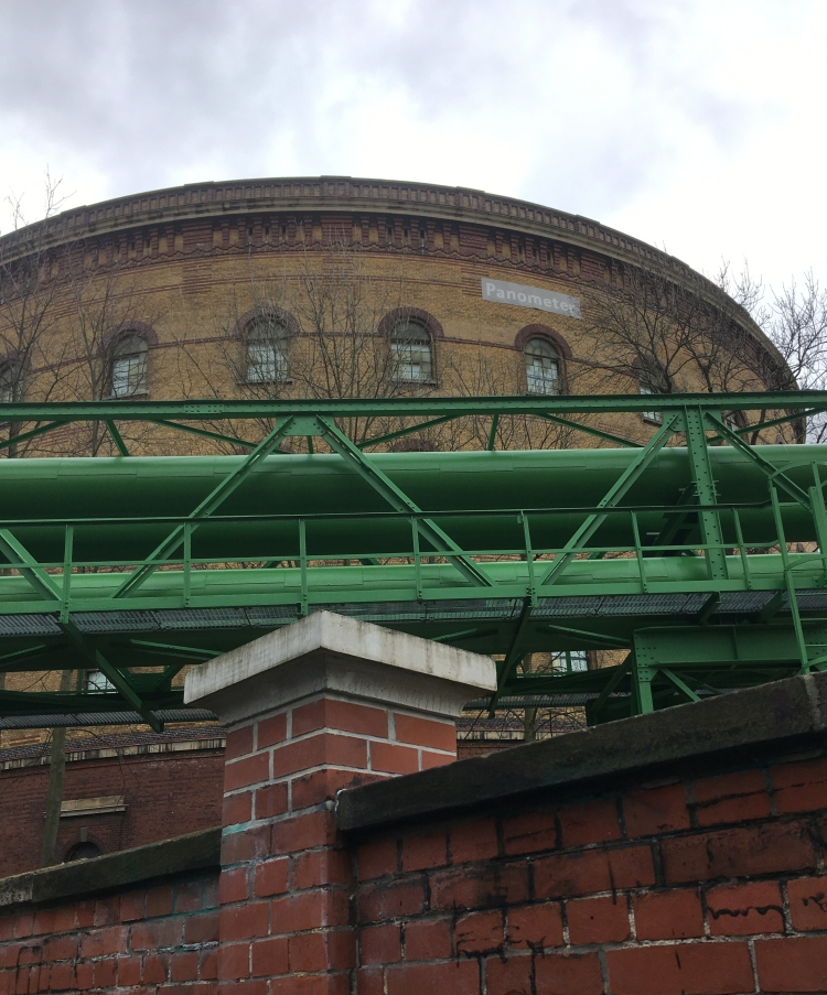 Things Helen Loves, image of brick gasometer with pipework in the foreground