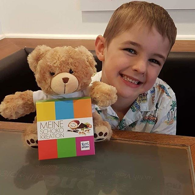 Things Helen Loves, image of boy with teddy and chocolate bar