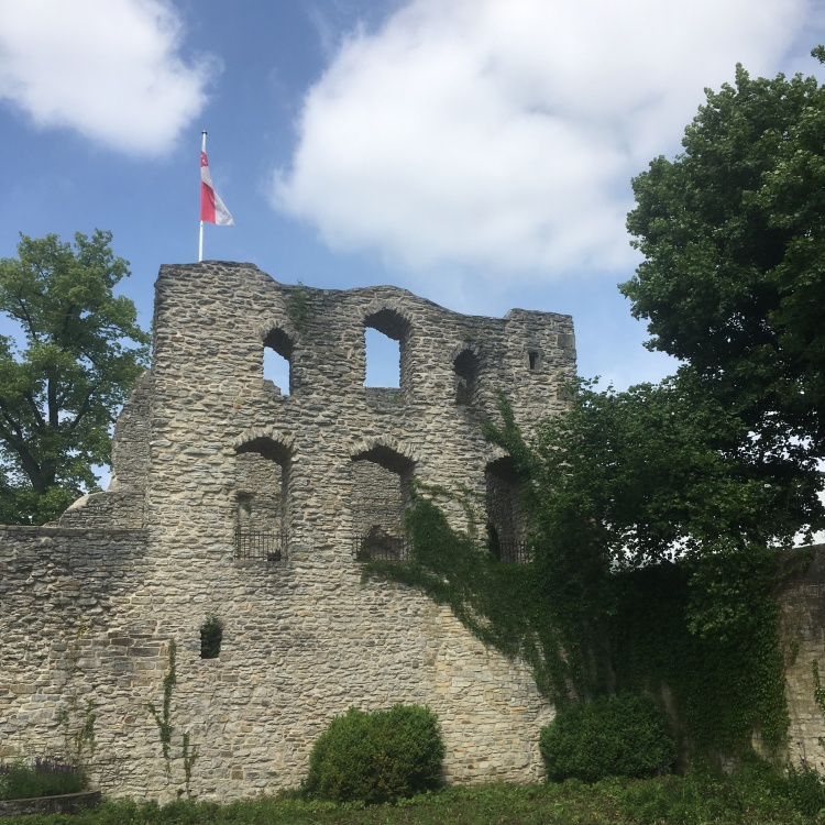 Things Helen Loves, castle ruin covered in ivy and with flags
