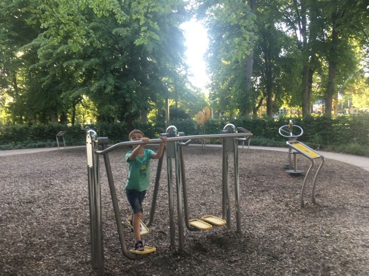 Things Helen Loves, image of boy using outdoor gym area in park