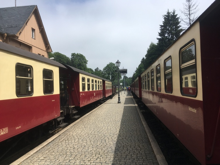 Things Helen Loves, image of red and cream steam trains