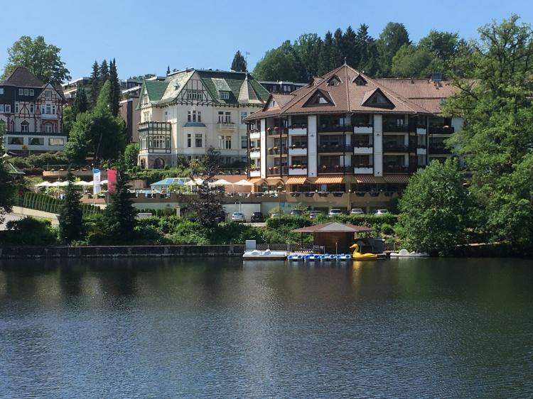 Things Helen Loves, views across lake to ornate buildings in German style