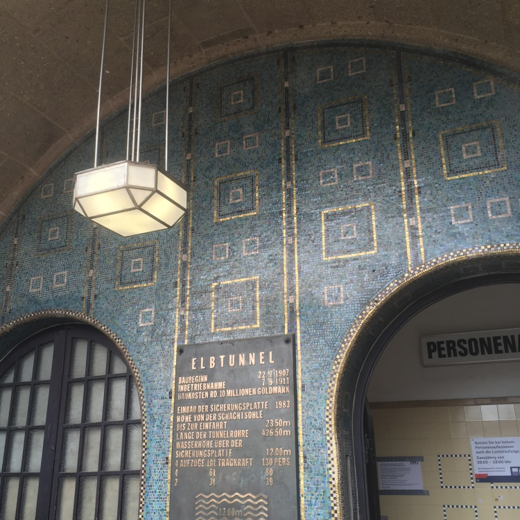 Things Helen Loves, ornate blue and gold tiling at tunnel entrance