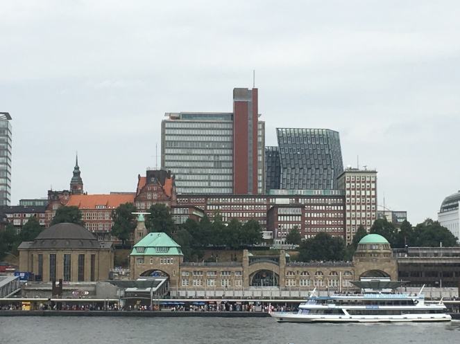 Things Helen Loves, view across river to St Pauli Piers, Hamburg