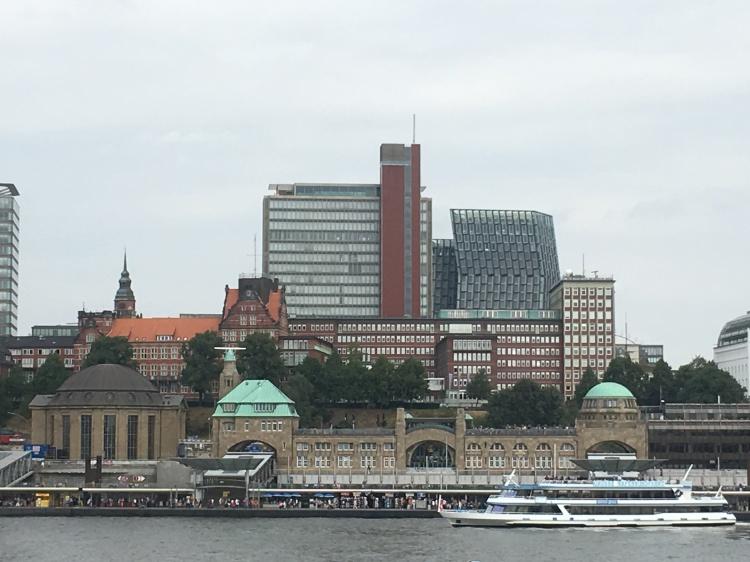 Things Helen Loves, view across river to St Pauli Piers, Hamburg