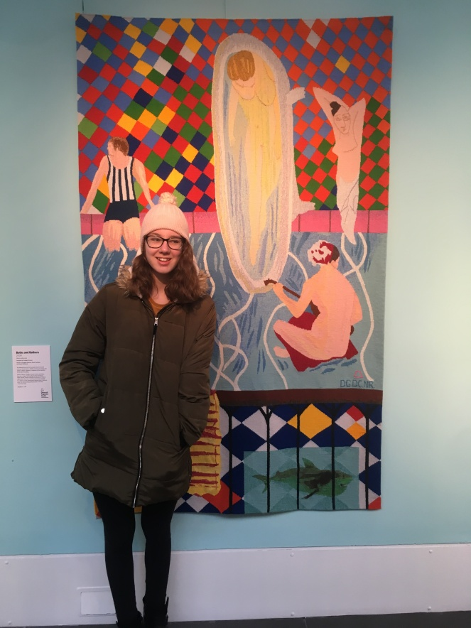 Things Helen Loves image of girl in front of textile art work