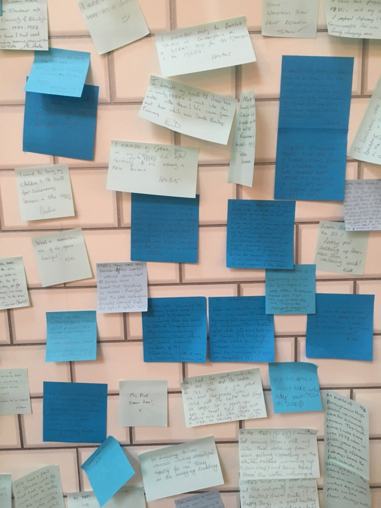 Things Helen Loves, Blue Post=It notes on a white tiled background