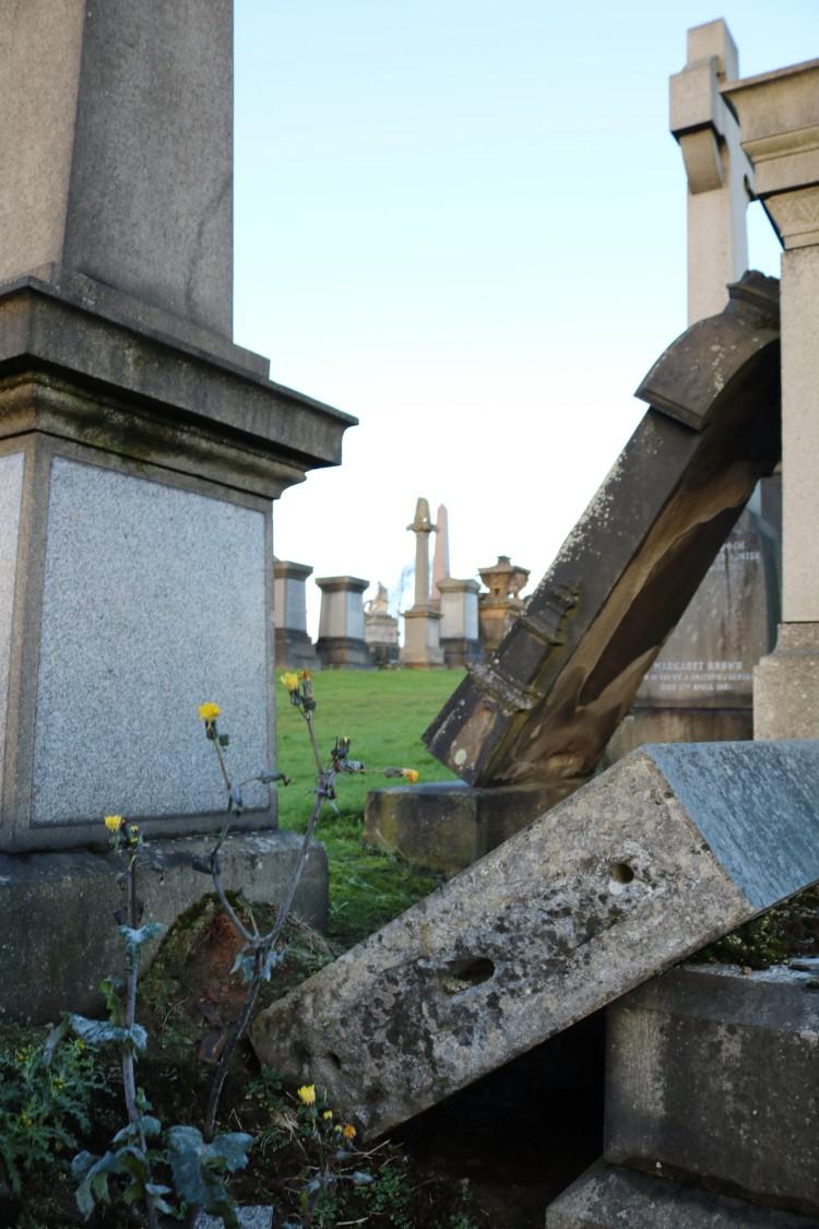 Things Helen Loves, Image of fallen gravestones and flowers