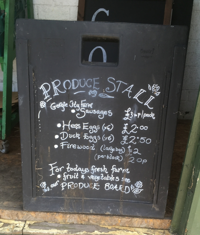 Things Helen Loves, blackboard listing produce for sale at the farm