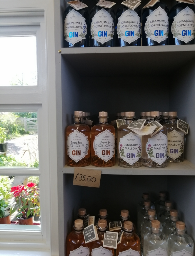 Things Helen Loves, bottles of botanical gin on display