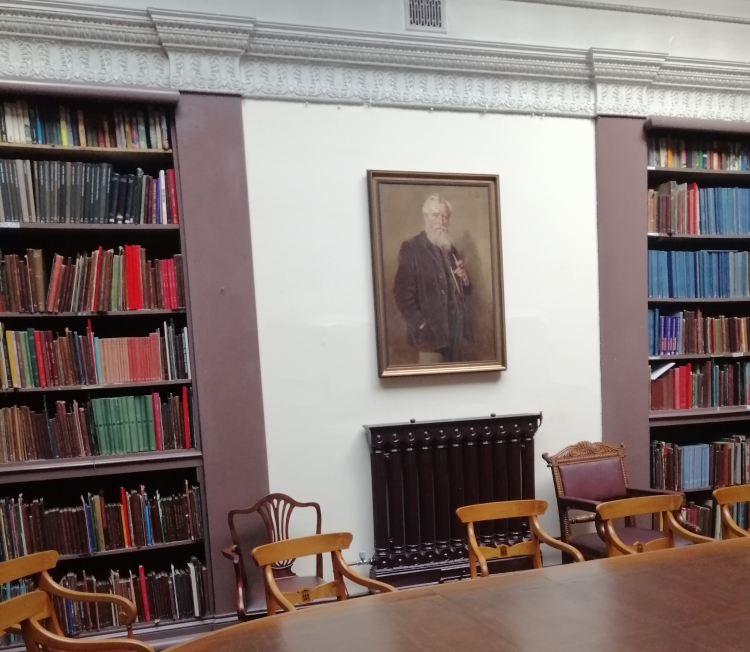 Things Helen Loves, interior image of library with antique fttings and portrait