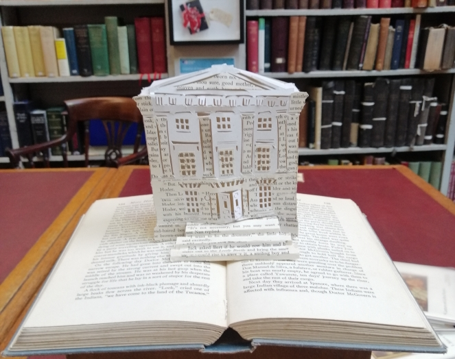 Things Helen Loves, paper model of a library on display in a library
