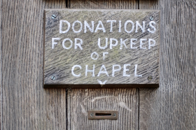 Things Helen Loves, donation box on Chapel doorl