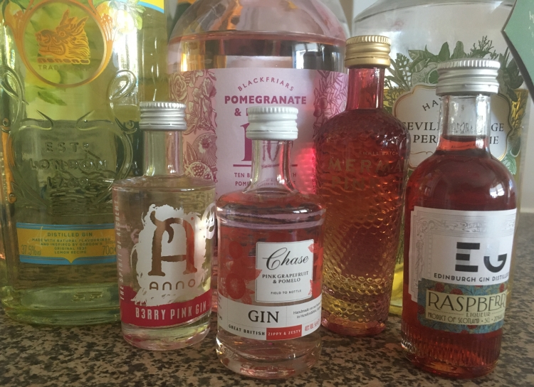 Things Helen Loves, collection of bottles of gin