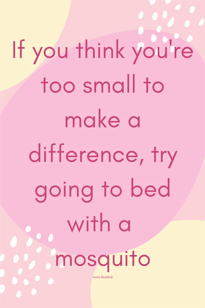 Pink background with text quoting, ' If you think you're too small to make a difference, try going to bed with a mosquito'