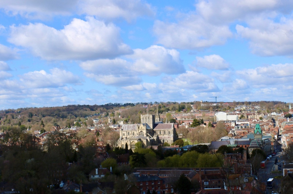 Things Helen Loves, image of Winchester as seen from above at St Giles View point